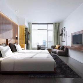 现代酒店客房3d模型【ID:428262613】
