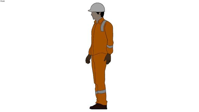 2D人橙色覆盖和安全装置SU模型【ID:939542571】