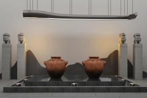 中式水景小品石狮雕塑吊灯组合3D模型【ID:127751802】