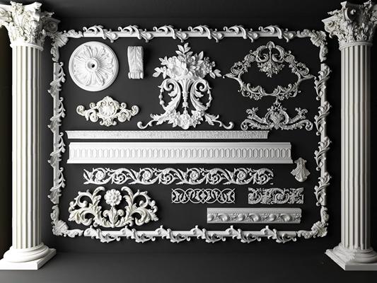 欧式雕花石膏线罗马柱组合3D模型【ID:828149688】