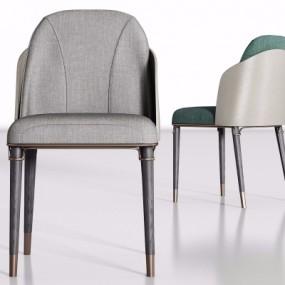 现代灰色布艺单椅组合3D模型【ID:227782435】