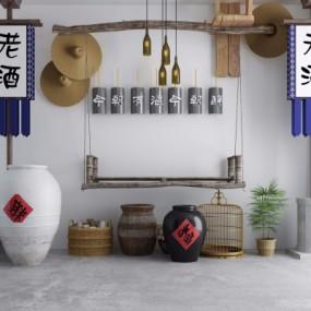 中式酒坛鸟笼吊灯景观小品组合3D模型【ID:128397864】