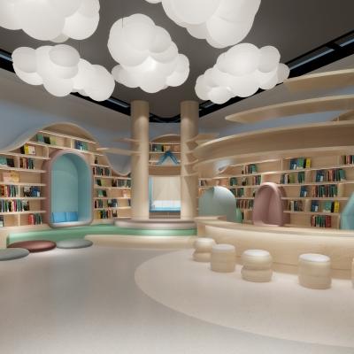 现代儿童图书室3D模型【ID:528452846】