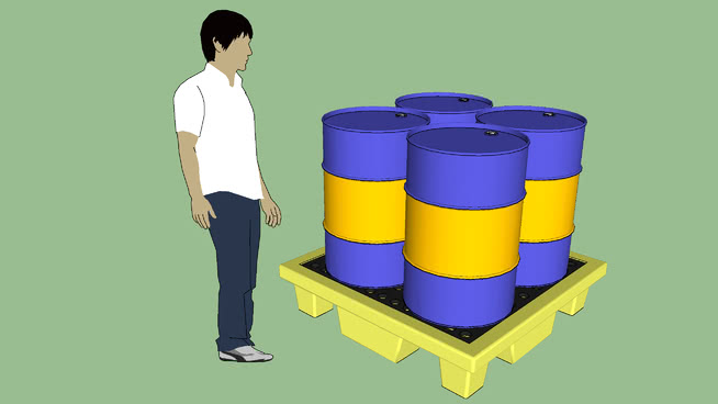 工业系列.设备.容器.鼓溢出遏制托盘/桶SU模型【ID:939544581】