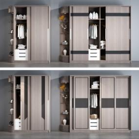 现代实木衣柜摆件组合3D模型【ID:927835941】
