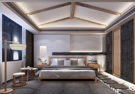 新中式石舍客房3D模型【ID:427970675】
