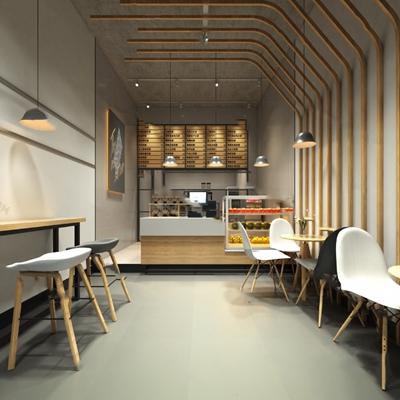 现代奶茶店3D模型【ID:124894976】