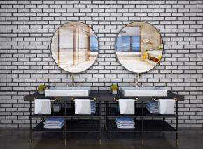 现代洗手台盆浴镜组合3D模型【ID:927820489】