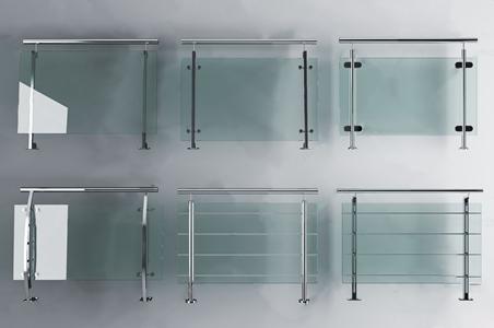 現代不銹鋼玻璃欄桿扶手組合3D模型【ID:332397530】