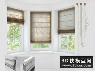 现代风格挂帘国外3D模型【ID:329696890】
