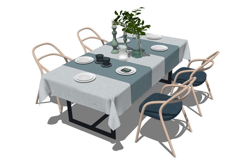 散座餐桌SU模型【ID:636354652】