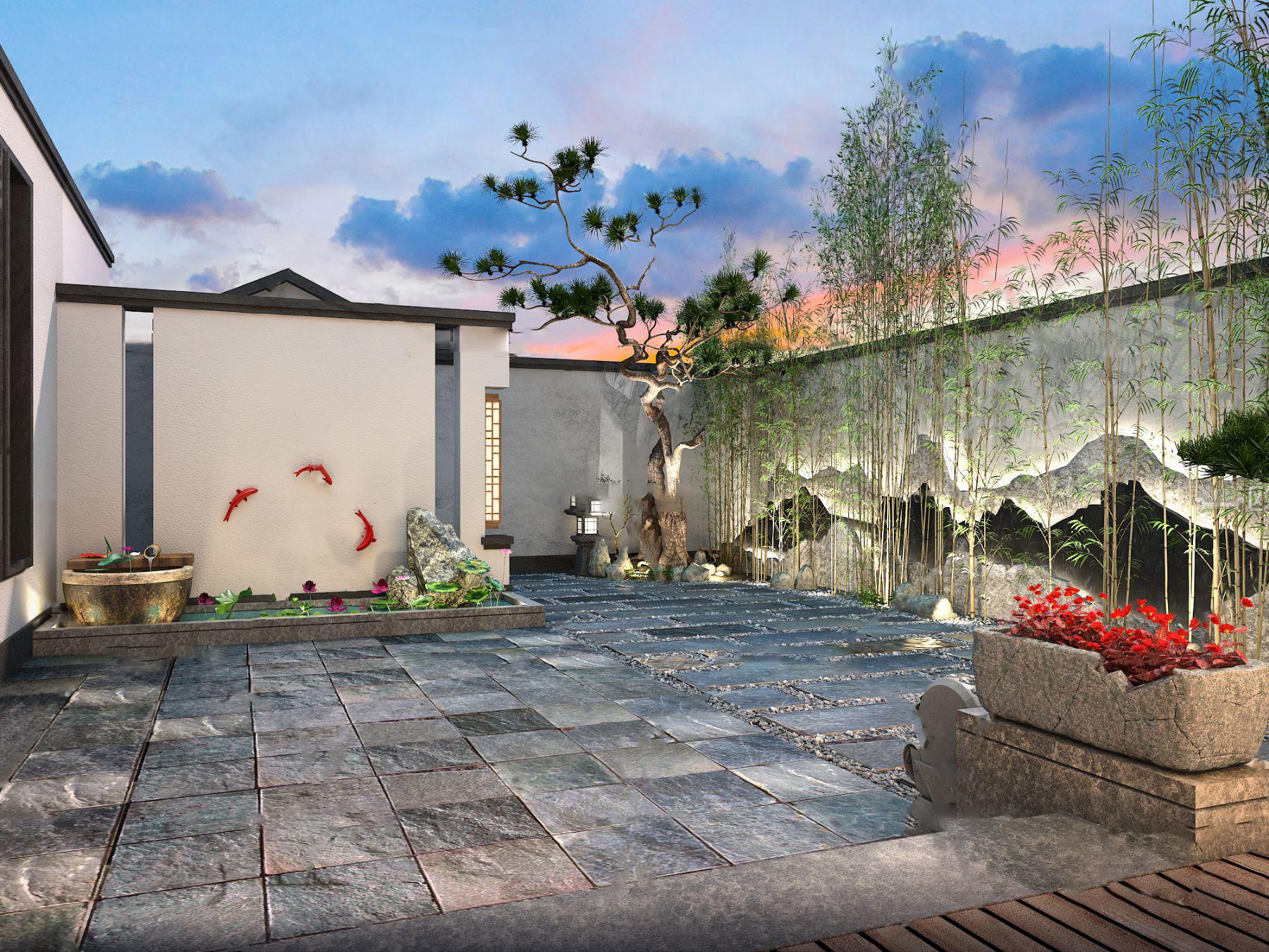 新中式庭院3D模型【ID:543096608】
