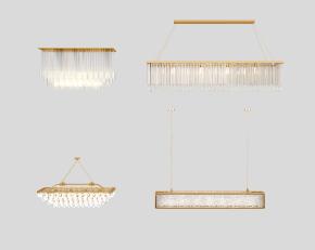 現代水晶吊燈組合3D模型【ID:527797836】