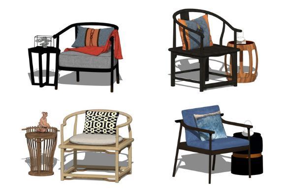 中式單人椅子組合SU模型【ID:947329487】