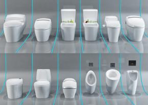 现代卫生间马桶组合3D模型【ID:427795132】