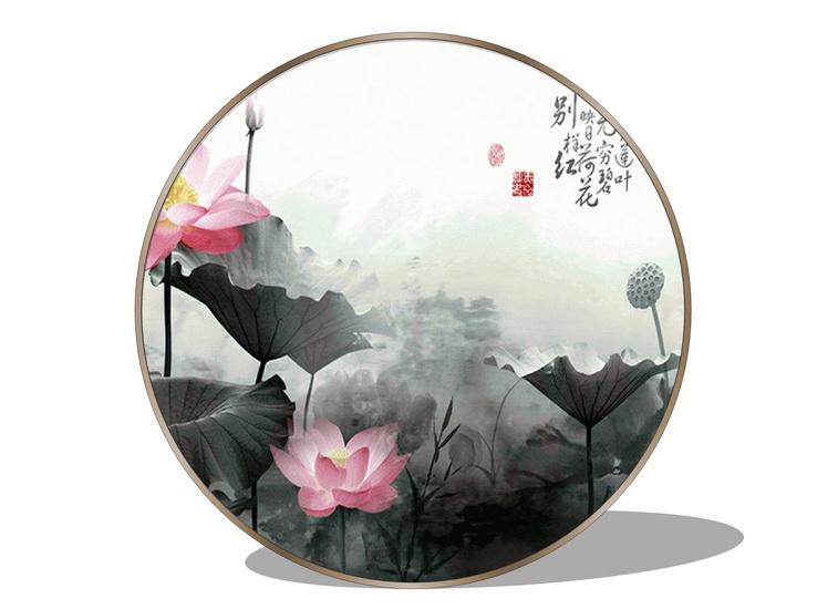 中式裝飾畫墻飾SU模SU模型【ID:936354754】