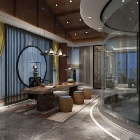 新中式客厅书房茶室3D模型【ID:528034606】