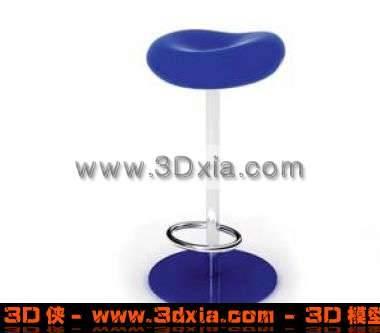 蓝色清新的3D高脚凳模型下载3D模型【ID:261】