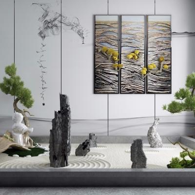 新中式禪意枯山水石景觀小品3D模型【ID:128411874】