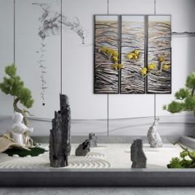 新中式禅意枯山水石景观小品3D模型【ID:128411874】