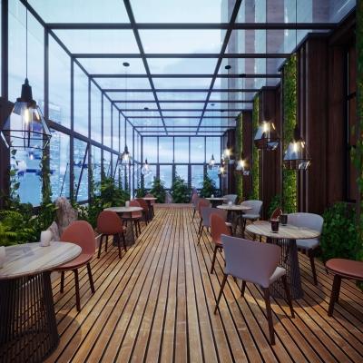 现代休闲阳光房透明咖啡厅3D模型【ID:327790636】
