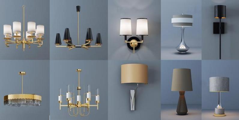 現代燈具組合3D模型【ID:928162867】