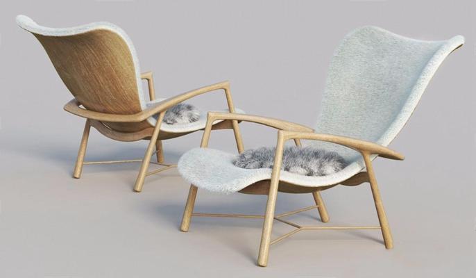 现代创意休闲躺椅3D模型【ID:228232615】