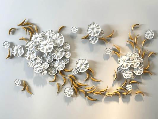 中式立体荷叶鱼群墙饰挂件组合3D模型【ID:26843623】