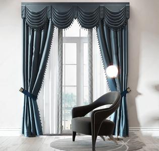新古典窗帘单椅组合3D模型【ID:328255876】