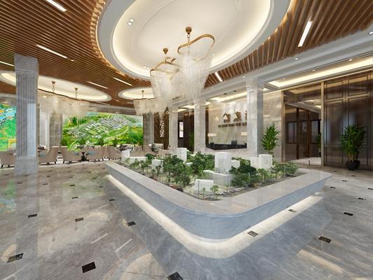 现代售楼部大厅接待区组合3D模型【ID:26867393】