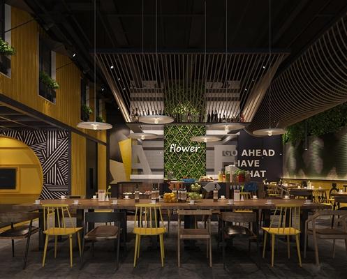 现代工业风集装箱咖啡厅餐厅3D模型【ID:26878752】