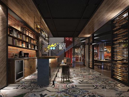 现代工业风酒吧前台3D模型【ID:26881657】