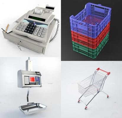 现代超市收银机电子秤购物车篮子组合3D模型【ID:26882870】