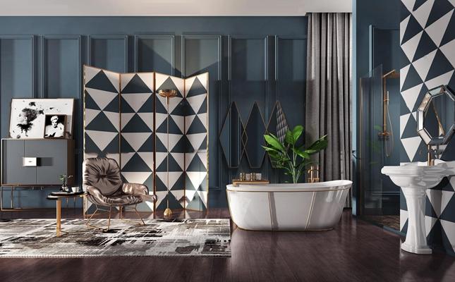 现代台盆浴缸屏风斗柜休闲椅组合3D模型【ID:26884209】