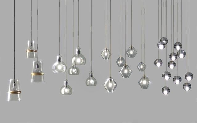 现代简约玻璃吊灯组合3D模型【ID:26959698】