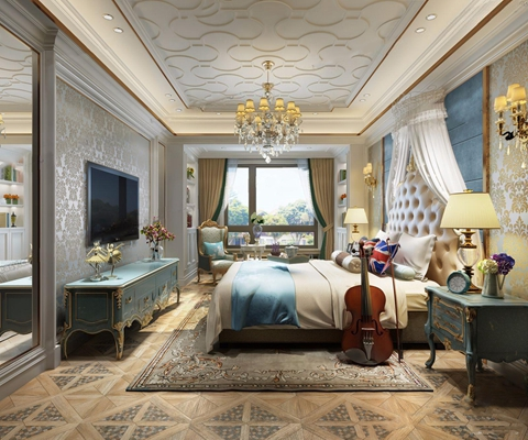 欧式古典卧室3D模型【ID:26959791】
