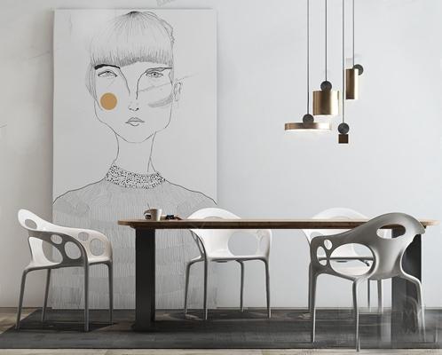 现代餐桌椅组合3D模型【ID:26960348】