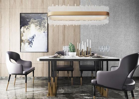 后现代餐桌椅组合3D模型【ID:26960349】
