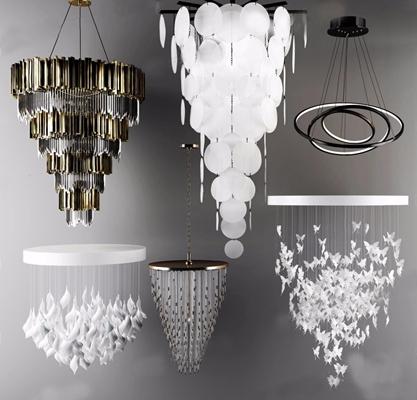 现代吊灯组合3D模型【ID:26960594】