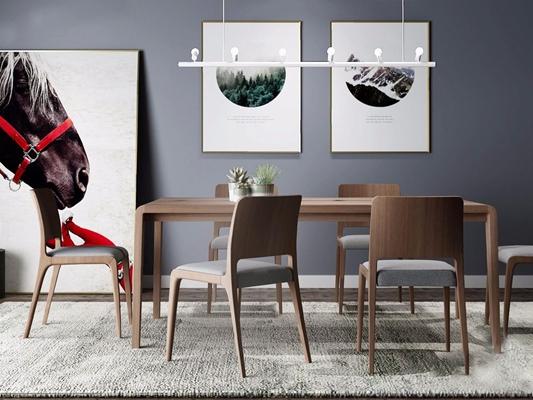 北欧餐桌椅组合3D模型【ID:26960943】