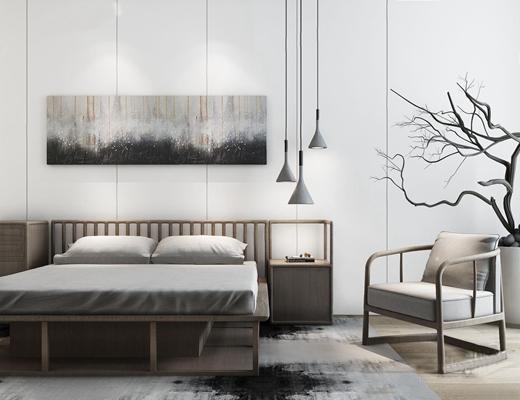 新中式床具3D模型【ID:26961095】