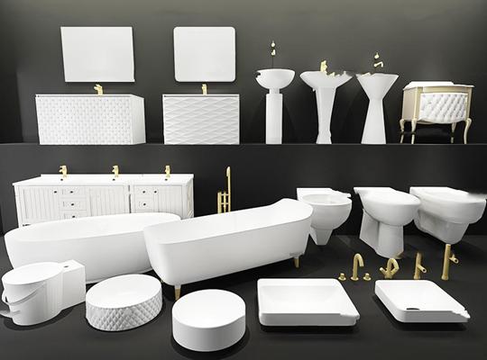 现代浴缸马桶洗手盆卫浴柜组合3D模型【ID:26962404】