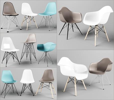 北欧皮革单椅组合3D模型【ID:26964246】