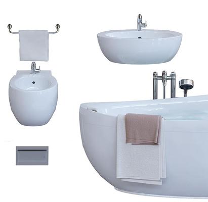 现代浴缸台盆毛巾架组合3D模型【ID:26965205】