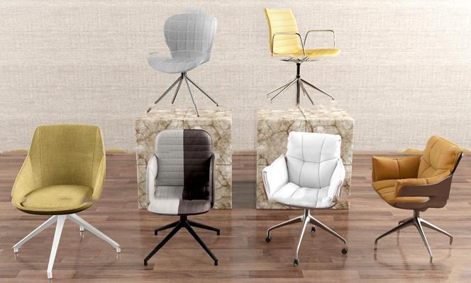 现代办公椅组合3D模型【ID:26966592】