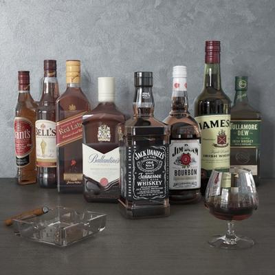 现代酒水烟灰缸组合3D模型【ID:26968459】