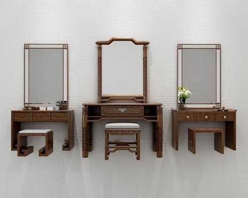 新中式梳妆台3D模型【ID:26969960】