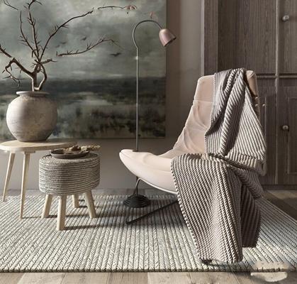 现代休闲沙发椅角几盆景组合3D模型【ID:26971240】
