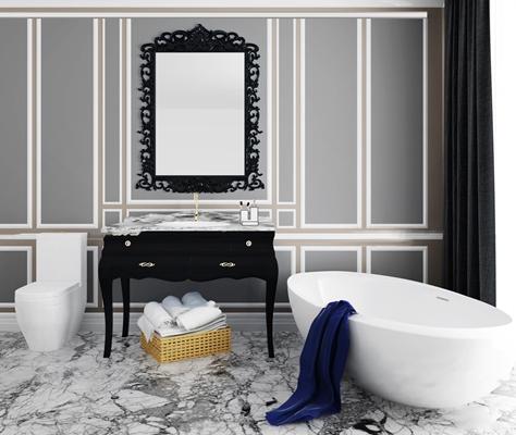 后现代浴缸马桶毛巾柜架组合3D模型【ID:26974406】