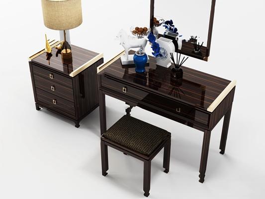 新中式梳妆台床头柜台灯摆件组合3D模型【ID:26974866】